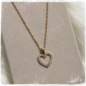 10k Solid Yellow Gold Heart Necklace Pendant